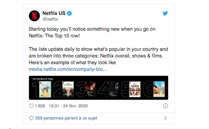 La plateforme Netflix met en place une catégorie présentant le top 10 des programmes les plus vus au jour le jour