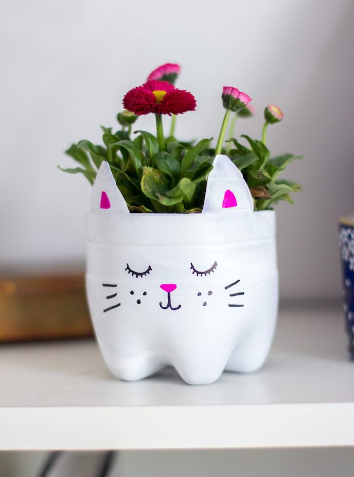 que faire avec des bouteilles en plastique repeints de blanc à motif chat avec des fleurs a l interieur