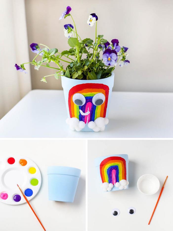 exemple d activité manuelle printemps maternelle avec pot de fleur décoré de peinture motif arc en ciel et nuages en coton