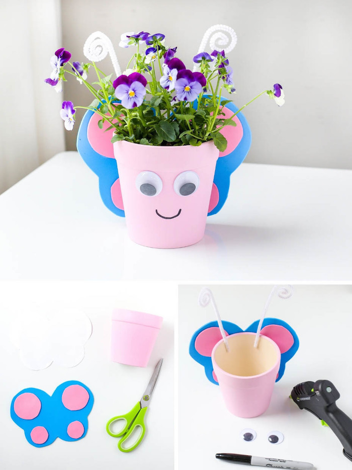 realsier une activité manuelle printemps maternelle en pots de fleurs rose avec ailes papillon motif en papier mousse et des yeux mobiles