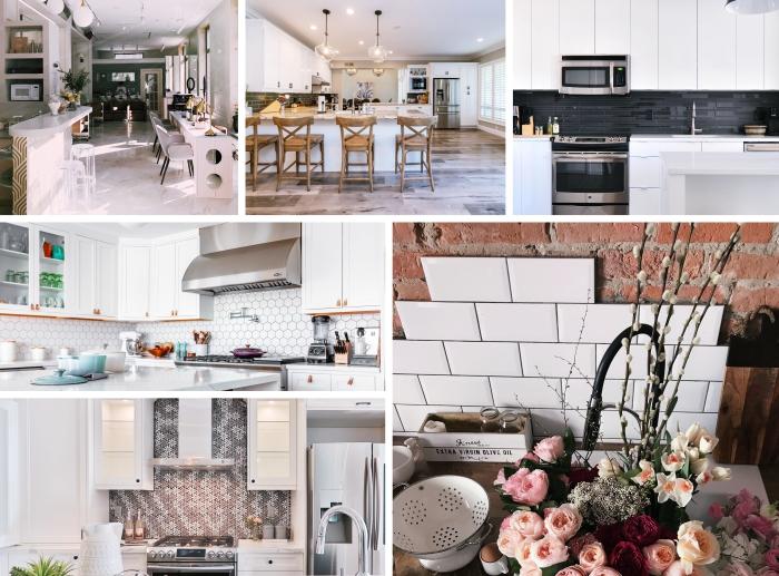 tendances de carrelage moderne pour le design d'une crédence de cuisine, modèle de carrelage aspect marbre