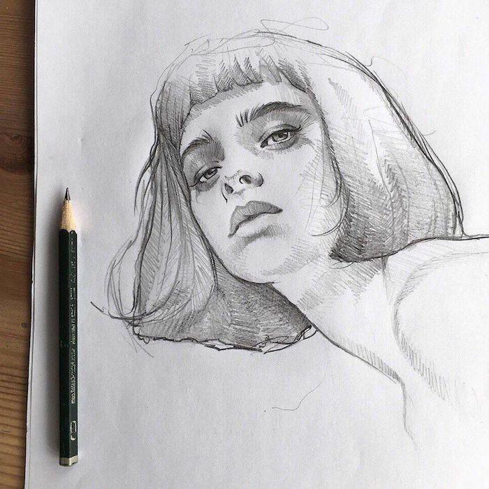 coupe carré long avec frange aux traits de visage, idee dessin crayon visage réaliste belle femme