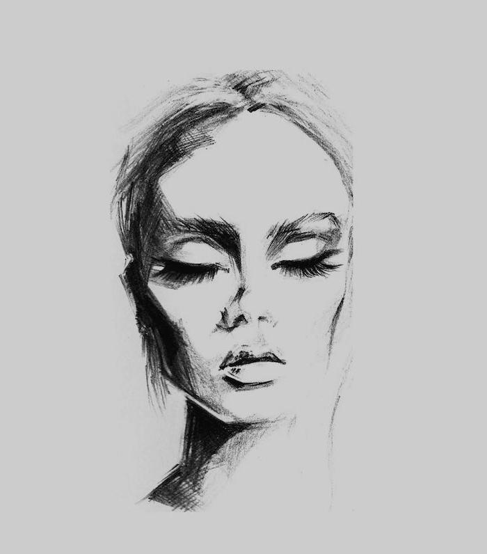 comment bien dessiner un visage femme aux yeux fermés, idee dessin art noir et blanc