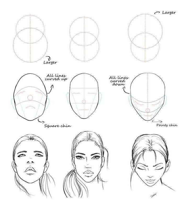 dessin tete de femme inclinée en avant ou rejetée en arrière, idees de dessins de visage simples