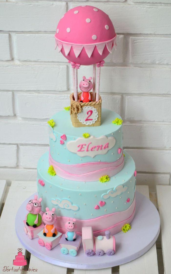 Inspiration gateau d anniversaire enfant fille qui aime la série pour Peppa pig, image peppa cochon rose montgolfiere fondant