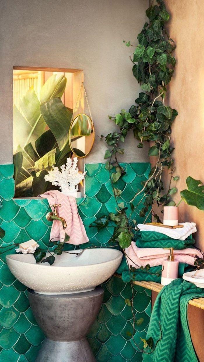 Sirène carrelage bleu-verte, belle decoration murale moderne, stickers salle de bain contemporaine
