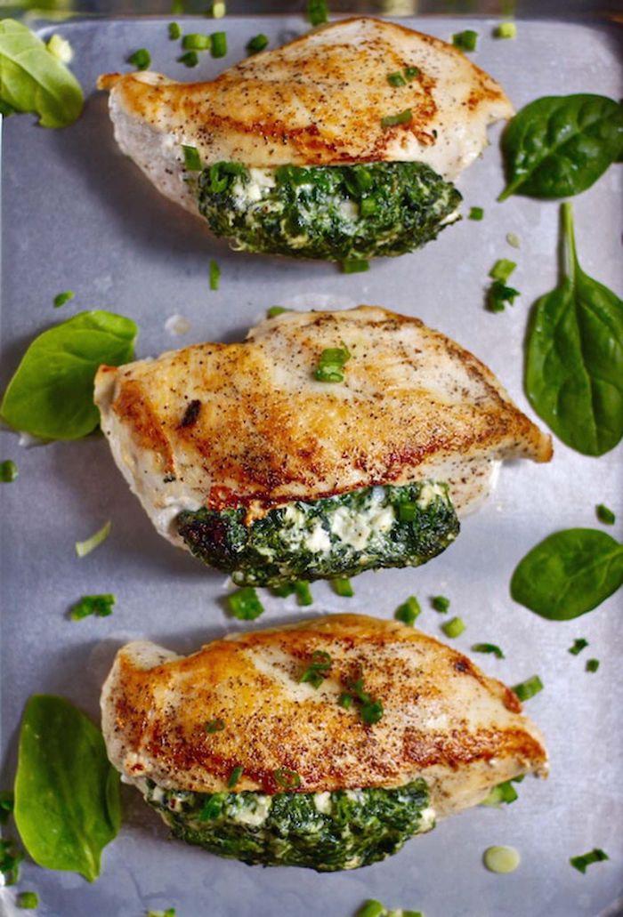 recette équilibrée de blanc de poulet farci aux épinards et fromages, repas du jour simple pour votre menu équilibré