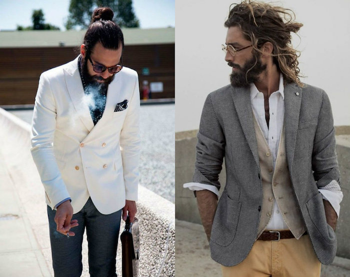 Bohème chic pour homme tenue, idée look homme classe, coiffure demi chignon homme, tenue classe pour homme casual style