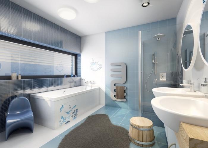 quelles couleurs pour une salle d'eau enfant moderne, inspiration salle de bain en blanc et bleu avec accents en bois