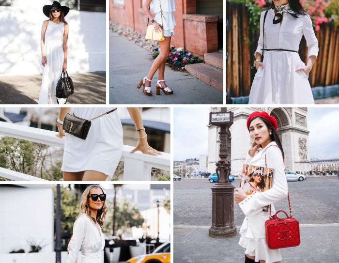 avec quels accessoires combiner une robe femme habillée, tenue d'été en robe courte à volants avec sandales hautes