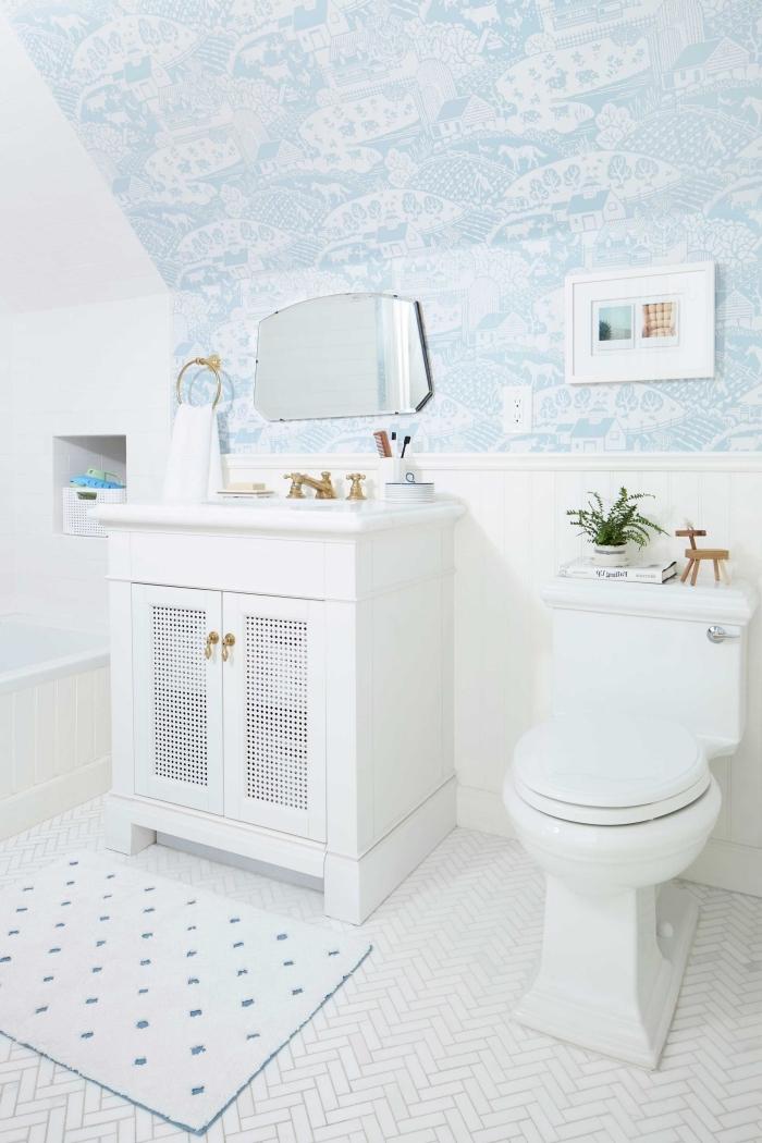 deco salle de bain enfant aux murs blancs avec déco murale en papier peint imperméable, idée meuble salle d'eau enfant