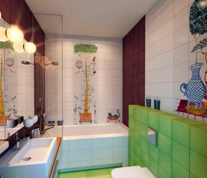 amenagement salle de bain avec petite baignoire, design salle d'eau pour enfant avec carrelage à dessins colorés