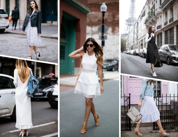 modèle de robe blanche dentelle assortie avec sandales marron et sac bandoulière, exemple de robe bohème chic avec franges