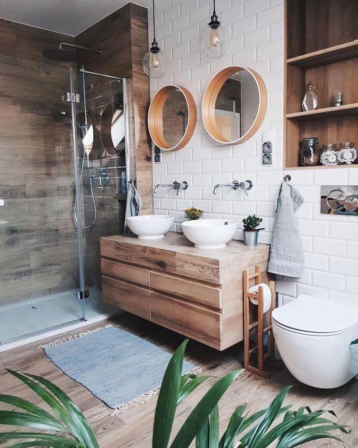 Rondes miroirs bois cadre, idée salle de bain contemporaine, décoration murale salle de bain meuble lavabo double