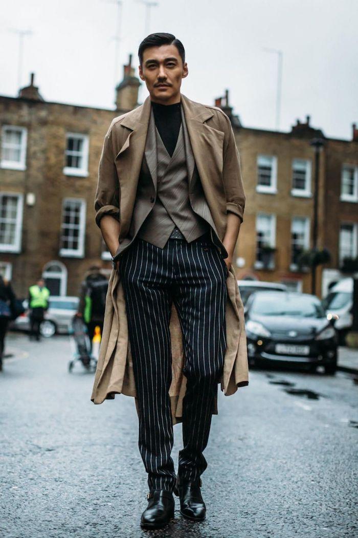 Manteau camel , veste beige, pantalon rayé, idée comment s'habiller bien look homme 2020, tenue classe homme la meilleure idée