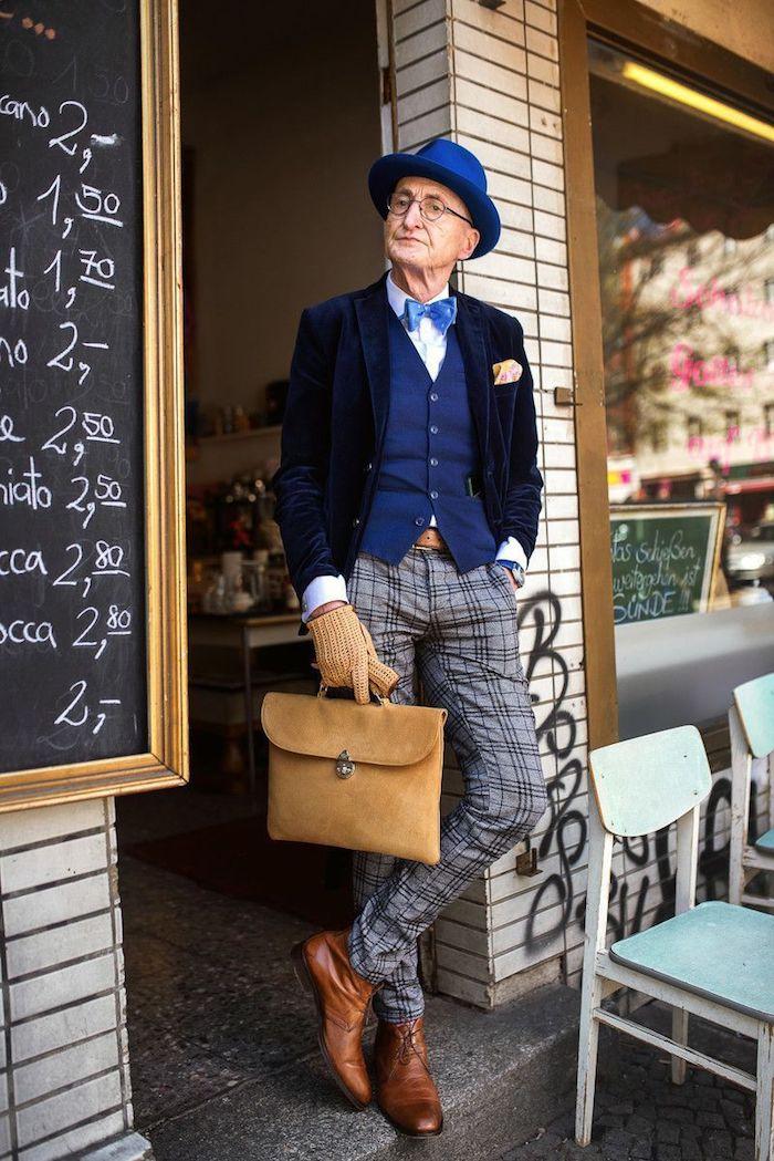 Originale idée tenue homme casual chic, homme qui a de la classe, look homme stylé comment bien s'habiller, pantalon rayé, costume 3 pièces avec noeud papillon