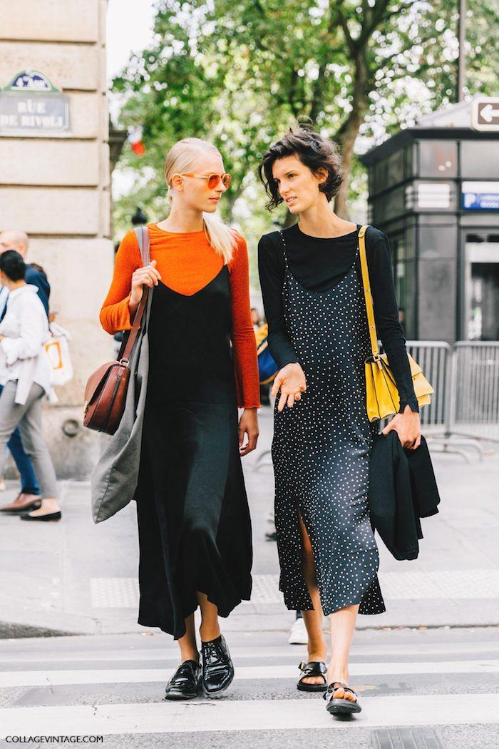 Meilleures amies robes longues et tshirts manche longue, idée accessoires années 90, comment s'habiller années 90 femme