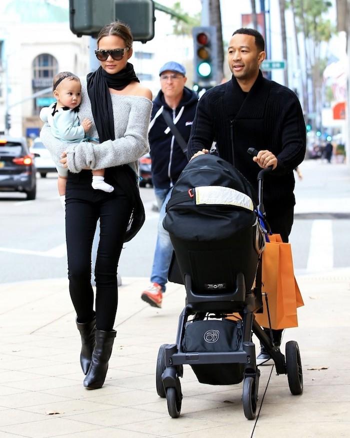 John, Chrissy et Luna en tenues coordonnées, tenue classe femme, habiller ses enfants comme soi