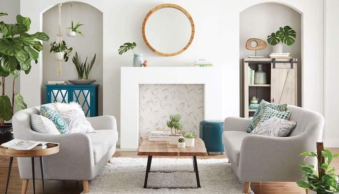 Salon chic plante pour chambre décoration, choisir sa plante verte intérieur, miroir ronde, deux canapés gris, table basse en bois