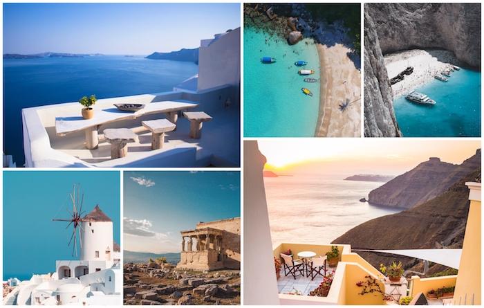 Santorin et Mykonos, iles Grèce pays à visiter 2020, magnifique vue de la mer et la montagne