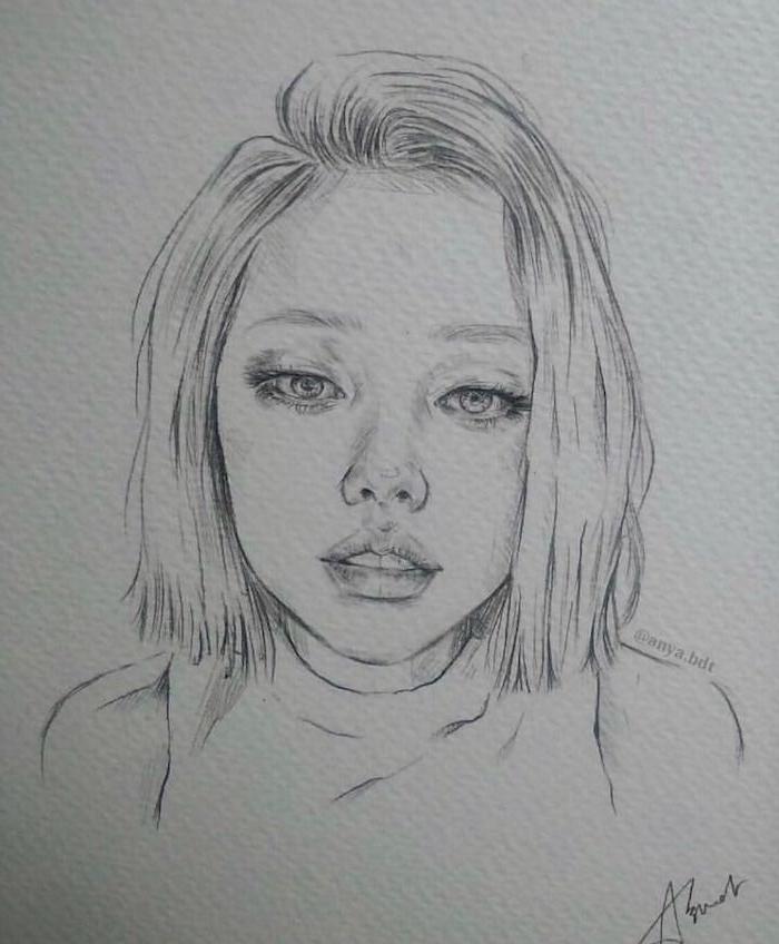 dessin de fille mignonne avec coupe carré court à mèche de coté, des yeux vlairs, levres fournis, nez symetrique, dessin fille swag