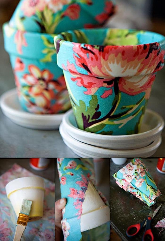 technique serviettage pour decorer un pot à motifs floraux, décoration motif floral rouge sur surface bleue