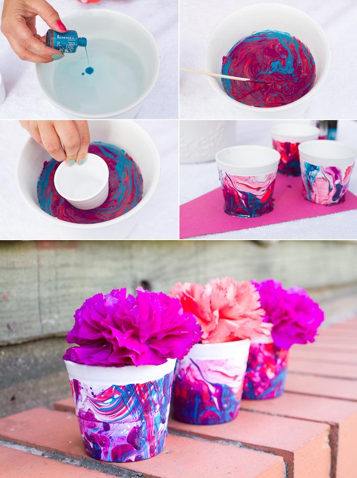 dessin aquarelle peinture sur pots de fleurs blancs, idee decoration avec vernis ongle pour créer un effet marbre, fleurs papier de soie