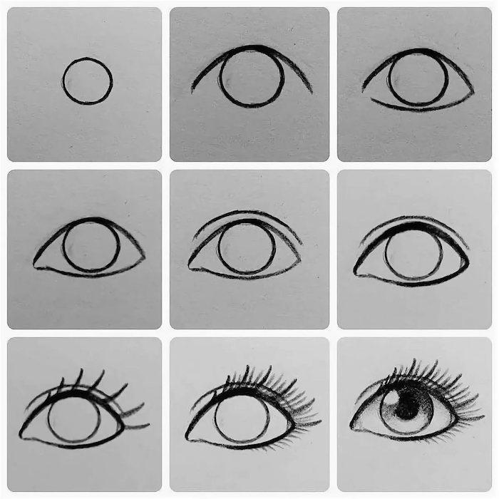 faire un dessin yeux facile, idée comment dessiner un oeil facilement, dessin noir et blanc facile et rapide