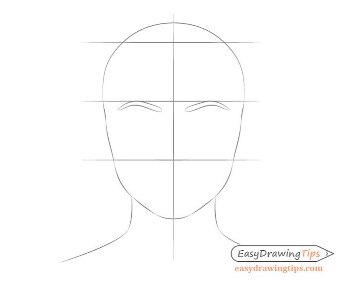 dessiner les sourcils en-dessous de la ligne supérieure de la section centrale, comment bien dessiner un visage femme