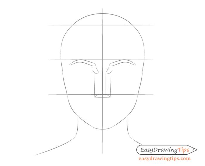 crane dessin idee comment dessiner un nez à partir les sourcils, crayon dessin simple et rapide