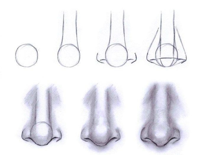 idee comment dessiner un nez par etape à partir d un cercle simple, tuto dessin facile a faire pour dessiner un visage homme
