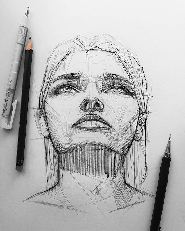 dessin geometrique de femme aux lignes droits traits, cheveux femme carré mi long, des yeux clairs
