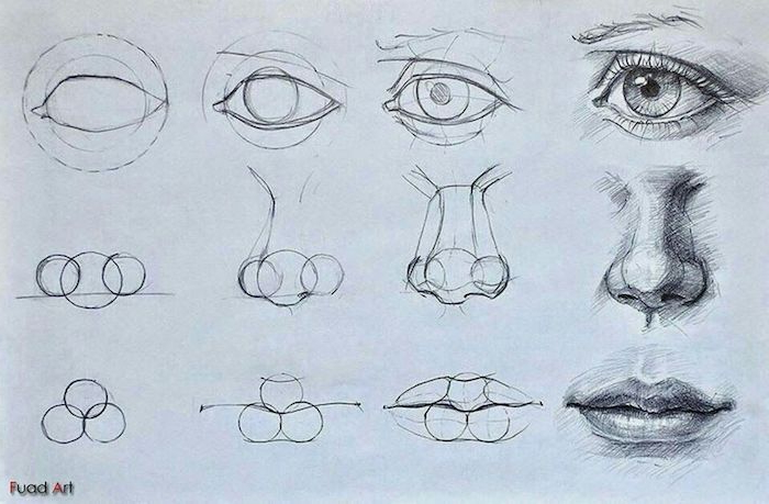astuces tuto dessin de nez, des yeux et bouche, comment dessiner comme un pro