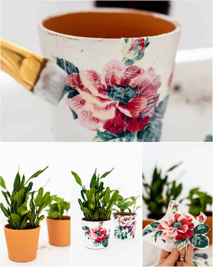 technique serviettage decopatch sur pot de fleur en terre cuite repeint de blanc, comment customiser un pot de fleur