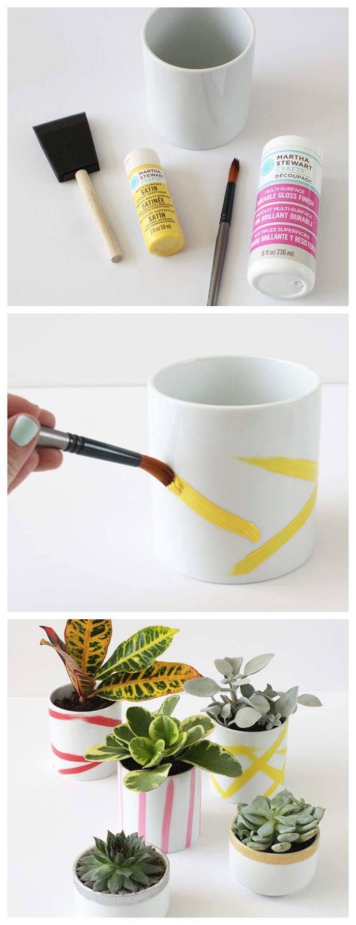 deco pot de fleur a faire soi meme, idée comment peindre des pots de fleurs en terre cuite avec traits de peinture acrylique