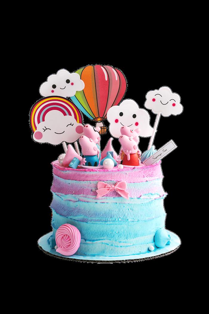 Peppa et sa famille figurines gateau anniversaire 2 ans, gateau anniversaire fille qui aime peppa