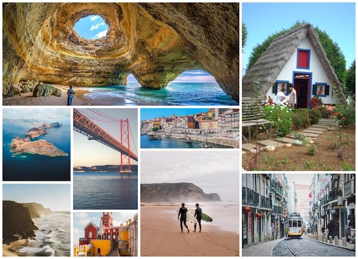 Portugal et ses vues stupéfiant, Algarve cave, océan vues de Madeira, hommes avec surfs, tram jaune de Lisboa