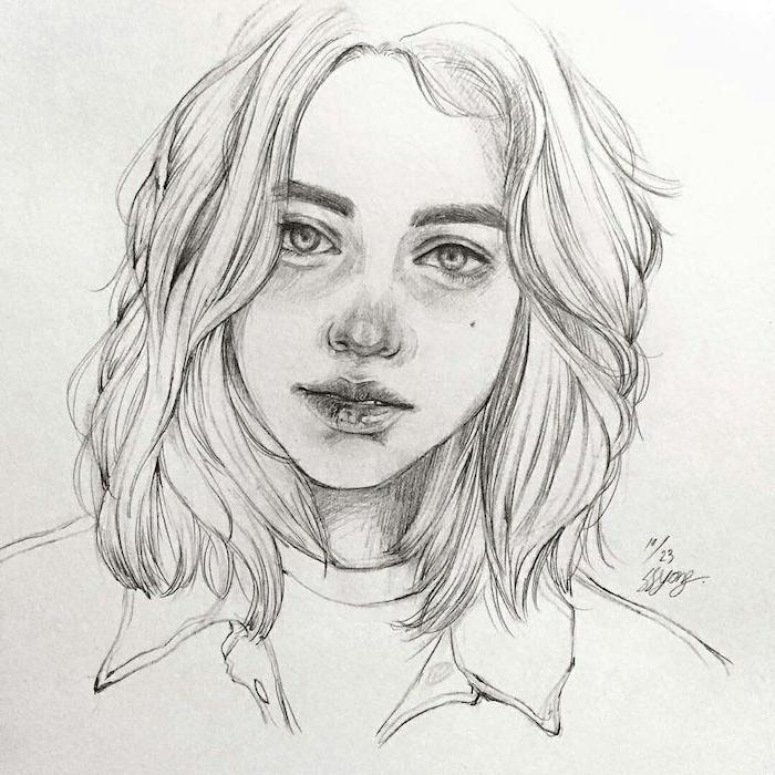 idee de dessin fille avec cheveux en dégradé mi long, bouche et nez soulignés en couleur foncé, de yeux clairs, dessin fille swag