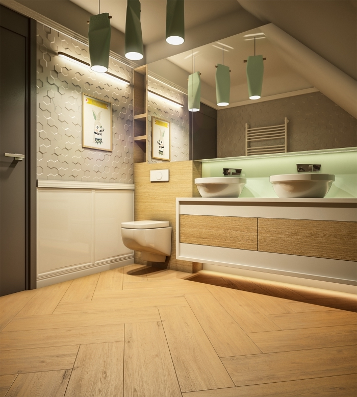 aménager une petite salle de bain moderne aux murs en gris clar et blanc avec accents meubles et sol aspect bois