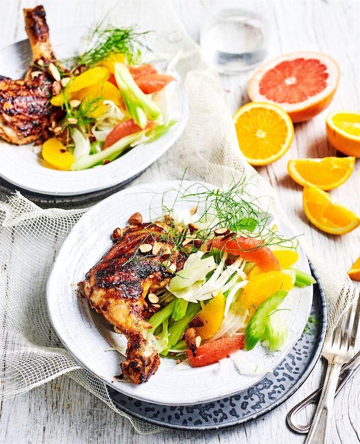 idée repas rapide avec cuisse de lapin roti au four avec salade de pamplemousse, orange et autres légumes