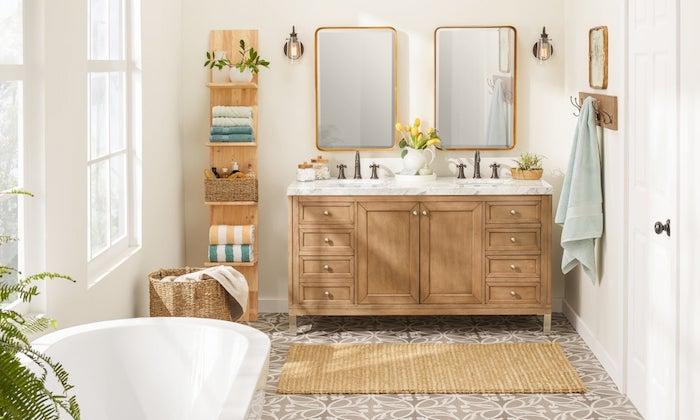 Idée quelles sont les tendances salle de bain 2020, modele de salle de bain image inspiration, simple déco blanc et bois