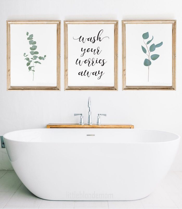 Peinture triptyque originale idee, deco salle de bain carrelage, salle de bain deco inspiration