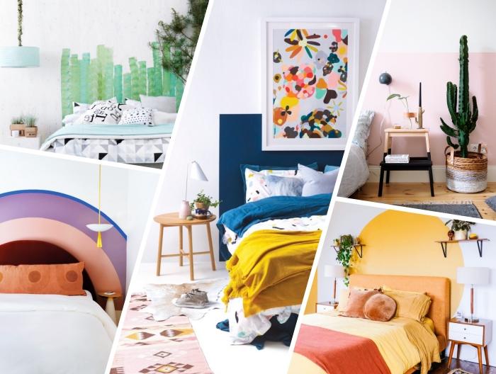 mille idées comment fabriquer une tete de lit facile avec peinture murale, design chambre à coucher tendance