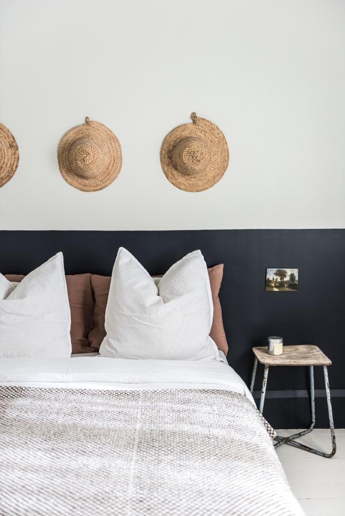 fabriquer une tete de lit avec peinture murale, design chambre moderne aux blancs avec diy tête de lit en noir