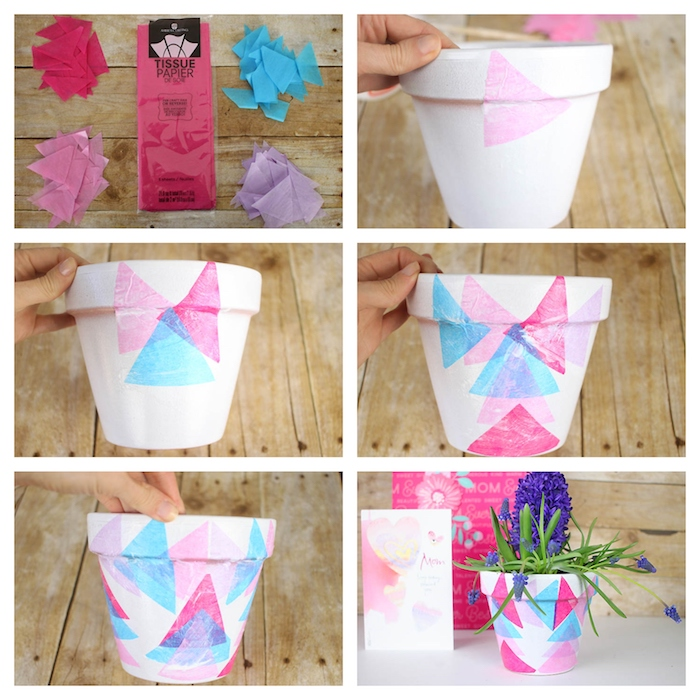 tuto serviettage avec des triangles de papier de soie, activité manuelle adulte, idee cadeau fete des meres a faire soi meme