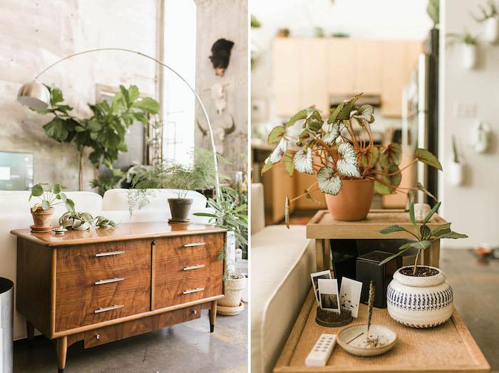 Canapé blanche et lampe tactile, plante d'intérieur dépolluante, décoration moderne avec plantes, cool idee deco