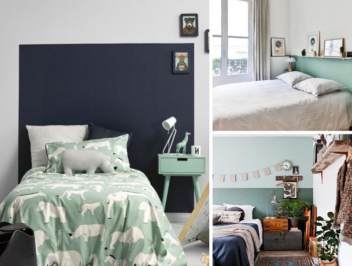 faire une tete de lit diy avec peinture de couleur tendance 2020, design chambre bébé avec décoration murale en peinture bleu nuit