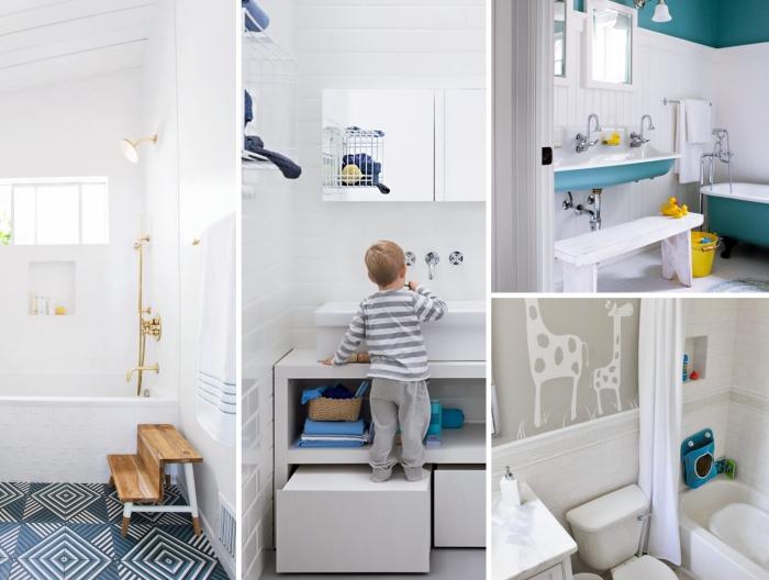 salle de bain deco minimaliste pour enfant, petite salle d'eau avec baignoire et vasque de couleur bleu pastel