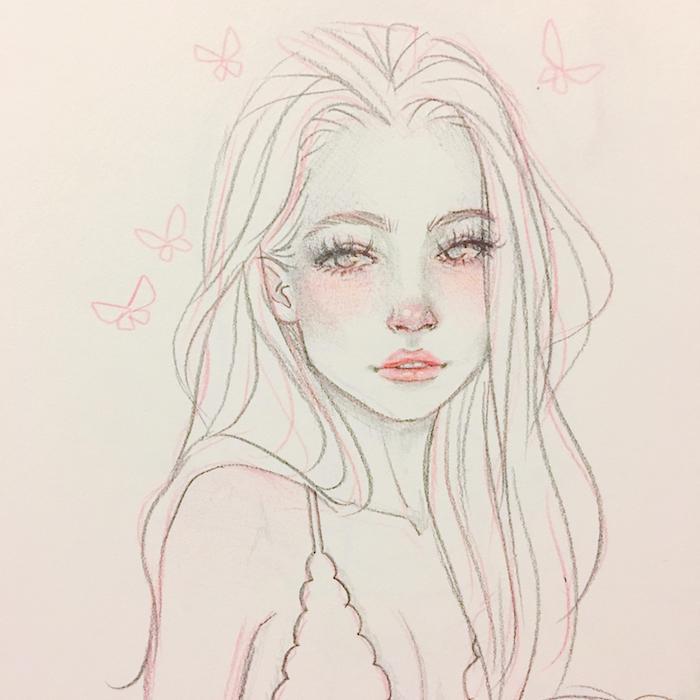 apprendre a dessiner un visage de fille au longue chevelure volumineuse, des yeux en amande, petit nez et bouche, dessin style dessin animé aux contours rouges