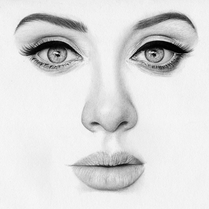 dessin noir et blanc portrait adele femme aux yeux clairs avec mascara et eye liner, levres pulpeuses, petit nez